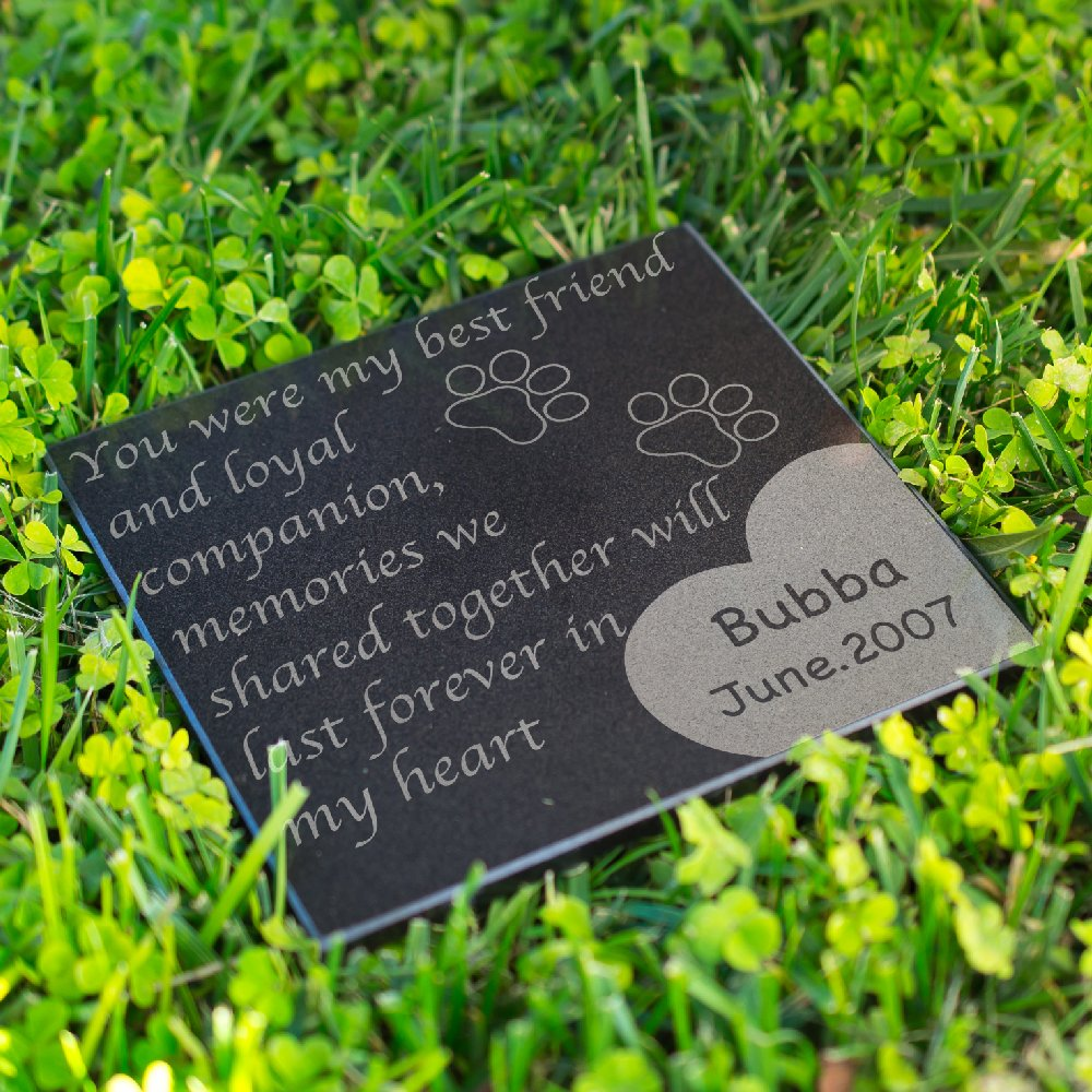 Personalized Dog Memorial Customized Dog Grave Marker Custom Headstone - DSG#5 - Aged Granite
