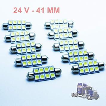 G-V 10x Bombillas Camiones C5W 24V 41MM White 6000K LED Lamp Lorry Truck 41 Festoon SV8.5: Amazon.es: Coche y moto