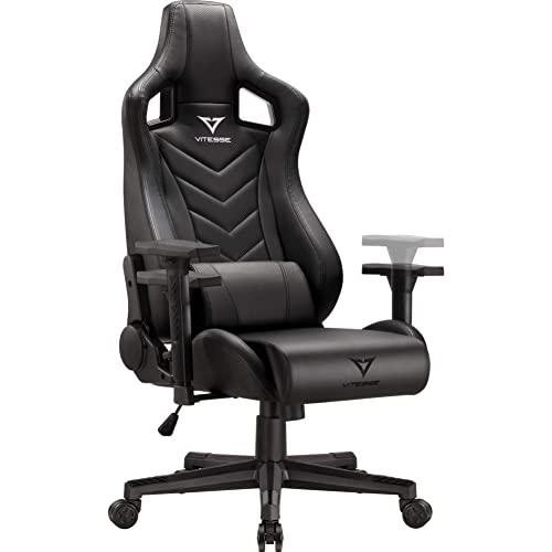 Vitesse Gaming Chair Ergonomic Desk Chair High Back Racing Style Computer Chair Swivel Executive Leather Chair with Lumbar Support and Headrest NB-Black
