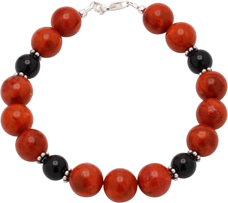 Pulsera de coral & ónix & plata de ley de 925 negro rojo joyería pulseras