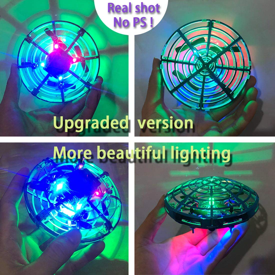 AURISON Flying Ball Drones, Hand-Controlled Drone Quadcopter Flying Toys Interactive Infrared Induction Helicopter Ball with 360°Rotating and Flashing LED Lights for Kids or Adults Gifts(Red) by AURISON (Image #3)