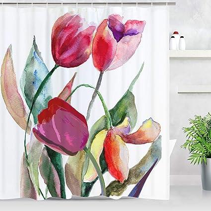 Amazon BLEUM CADE Tulip Flowers Shower Curtain Red Flower