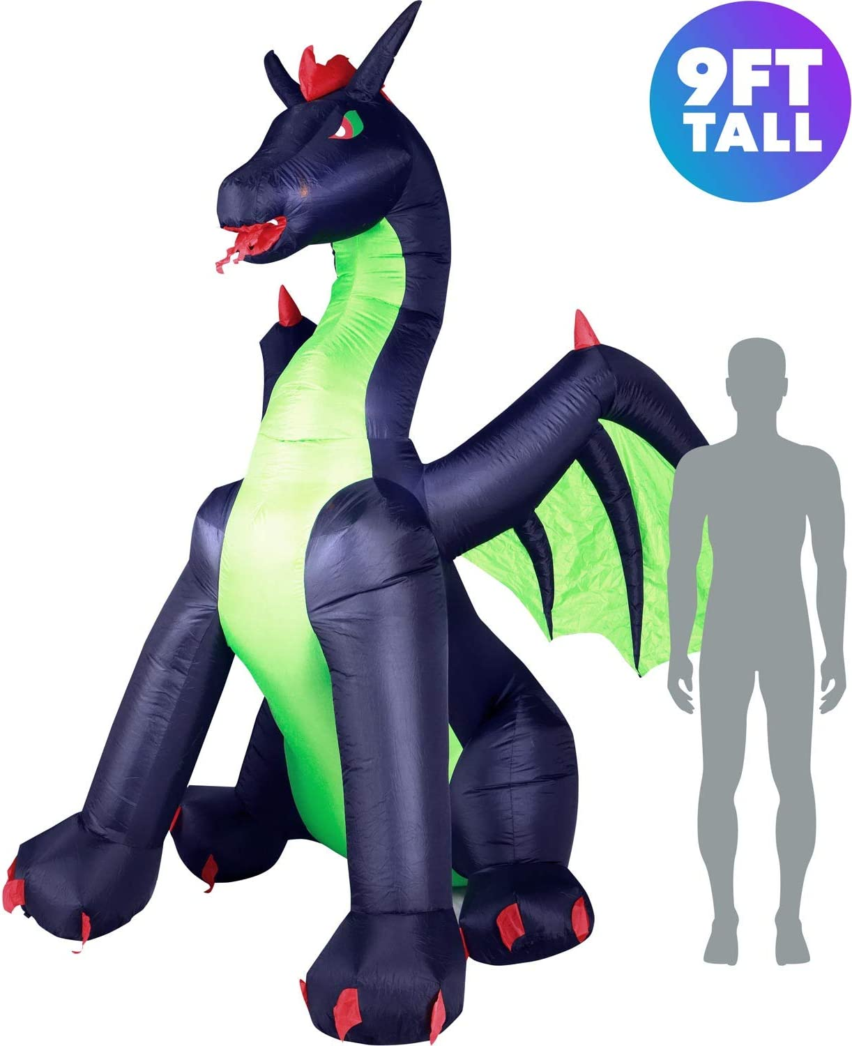 Holidayana Halloween Dragon Inflatable Decor 9 ft Halloween Dragon Inflatable Yard Decoration with Super Bright Internal Lights Built in Fan and