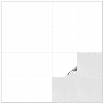 FoLIESEN Fliesenaufkleber Für Bad Und Küche   15x15 Cm   Weiss Matt   80  Fliesensticker Für