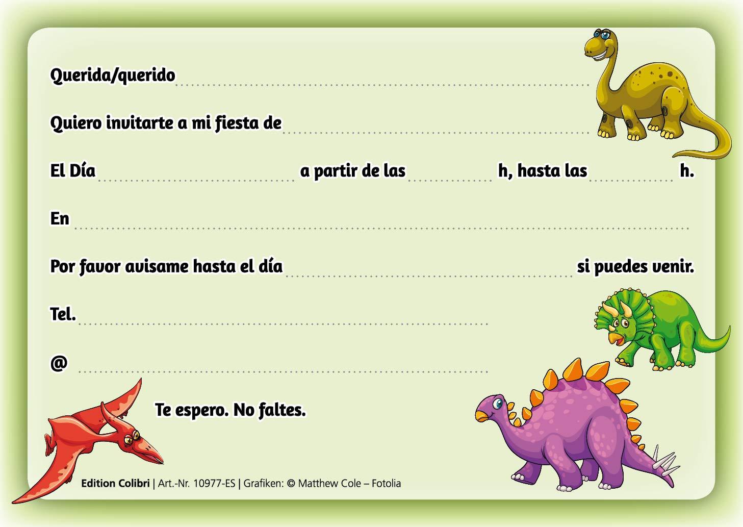 Edition Colibri 10 Invitaciones En Español Dinosaurio Juego De 10 Invitaciones Para El Cumpleaños Infantil Fiesta 10977 Es