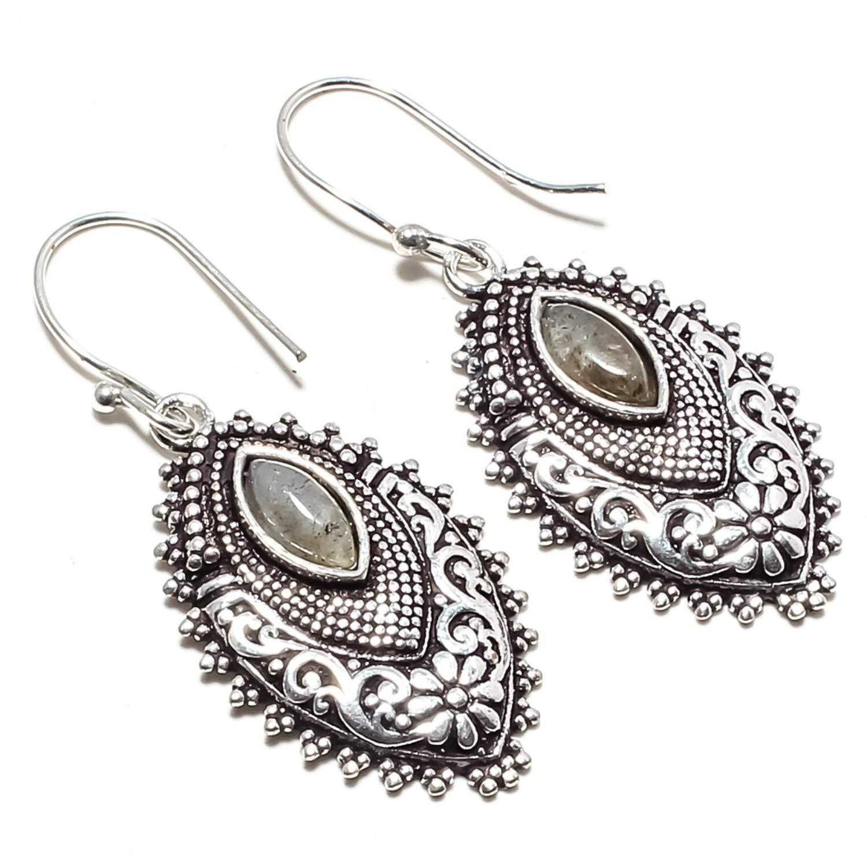 SF-622 /… 925 Silver Plated Handmade Jewelry- Dangle and Drop Earrings - jewelsempire Beautiful Black Shiny Labradorite Gemstone Earrings
