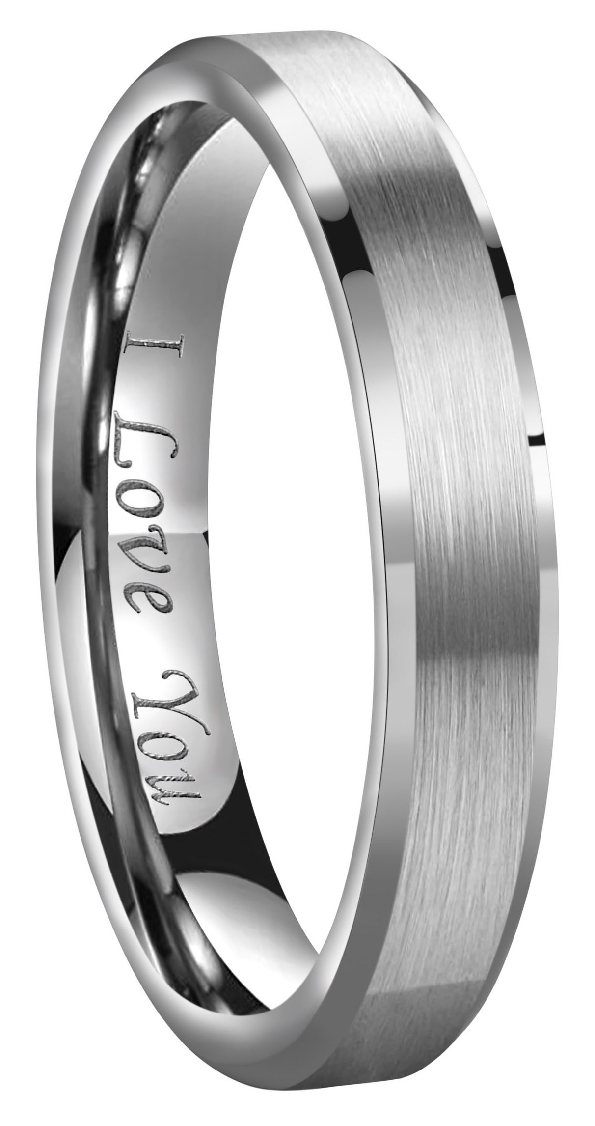CROWNAL 4mm/6mm/8mm Tungsten Couple Wedding Bands Rings Men Women Brushed Finish Beveled Edges Engraved I Love You Size 4 To 17 (4mm,5)