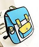 大容量 アニメから飛び出したような リュックサック バックパック 面白い 二次元 イラスト 男女兼用 3714062008 (ブルー)
