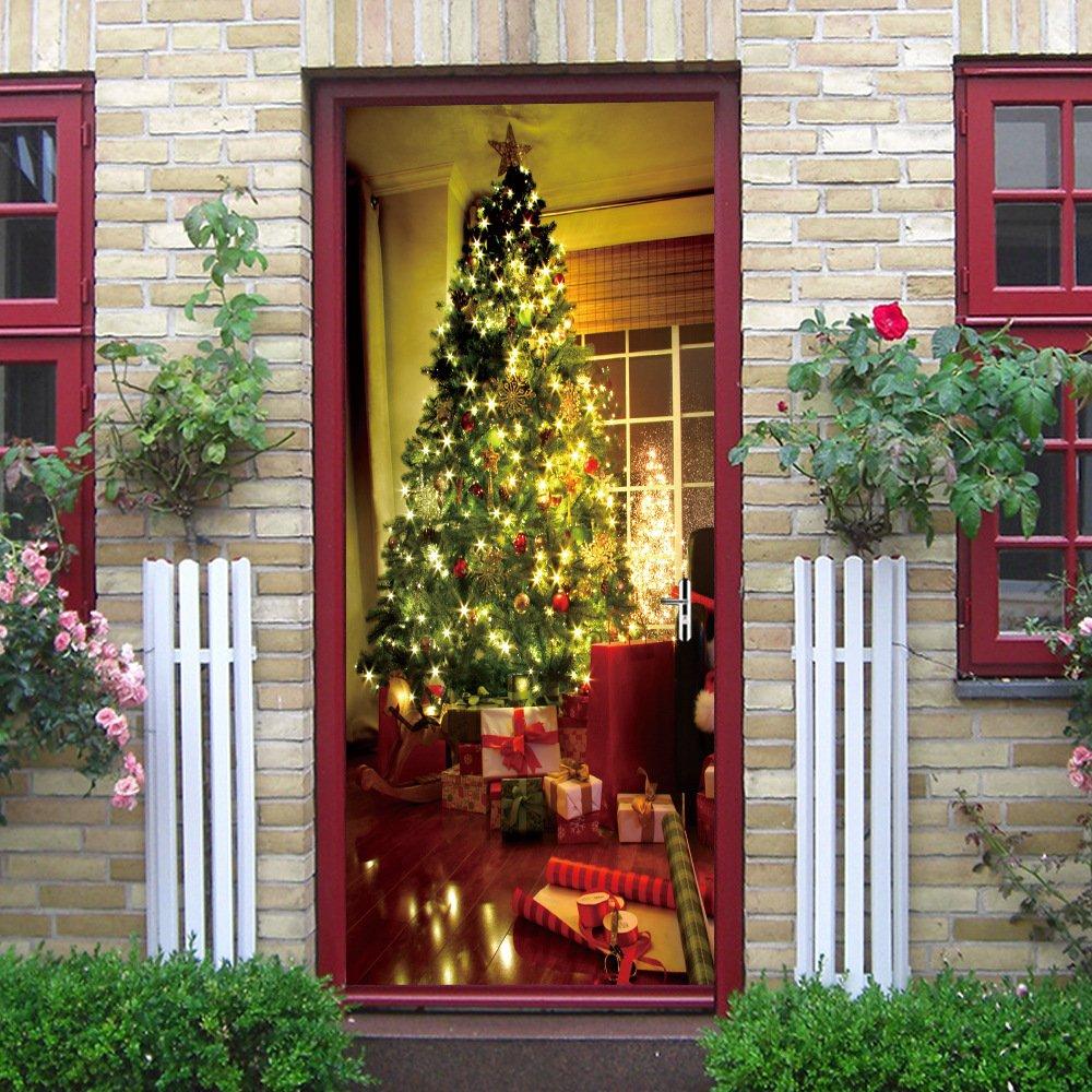 Adesivi per porte creativi e personalizzati Decorazione per interni e pareti per interni e per esterni Alberi di Natale splendenti in 3D, Regalo di Natale per ragazzi e ragazze Camera per bambini Xmas-Zjie