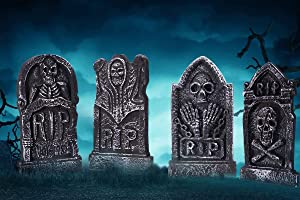 "Sizonjoy Pack of 4 Foam Grave Tombstones for Halloween Decorations,17"" Lightweight RIP Grave Stone Decor-Perfect for Outdoor Party/Haunted House/Yard Decorations"