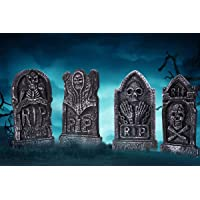 Sizonjoy Pack of 4 Foam Grave Tombstones for Halloween Decorations,17″ Lightweight RIP Grave Stone Decor-Perfect for Outdoor Party/Haunted House/Yard Decorations