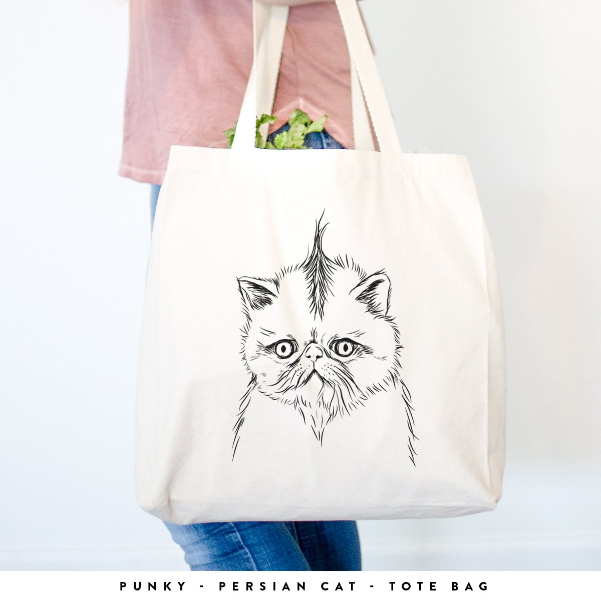Punky the Persian Cat Heavy Duty 100 %コットンキャンバストートバッグショッピングReusable Grocery Bag 14.75インチx 14.75 X 5 Printed Both Sides ベージュ TOTE-Punky-Persian-2-sides Printed Both Sides  B0793BLD85