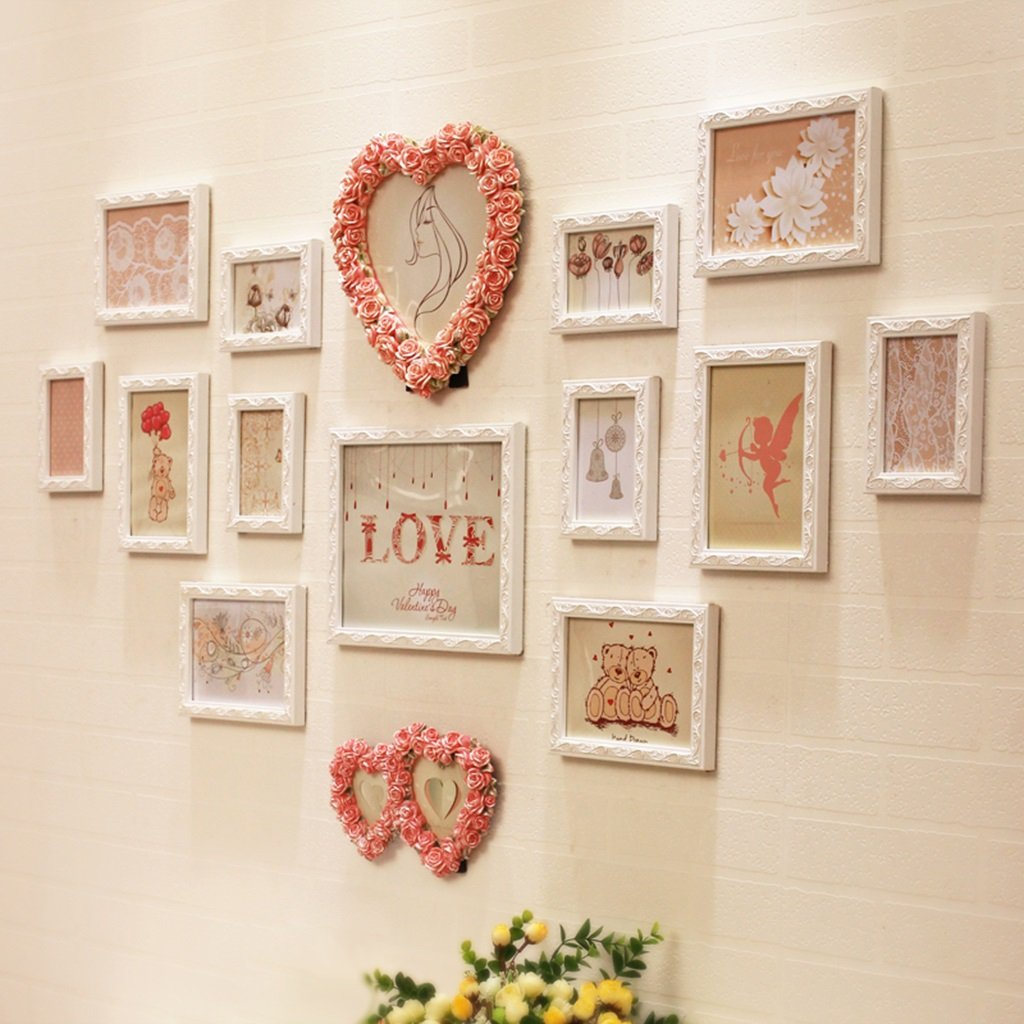 ZYANZ Romantic Resin Photo Wall, Carved Pink Love (can Be Placed, 2), White Rectangle (12) Combination Of Photo Frame