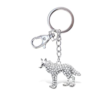 CoTa Global Silver Wolf Sparkling Charm w Stones Elegant Keychain Pendant  Measures 6.5 Inches w 4821883ea