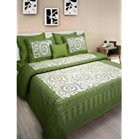 BedZone Cotton Comfort Rajasthani Jaipuri Traditional King Size 1 Double Bedsheets with 2 Pillow Covers_P85-Green