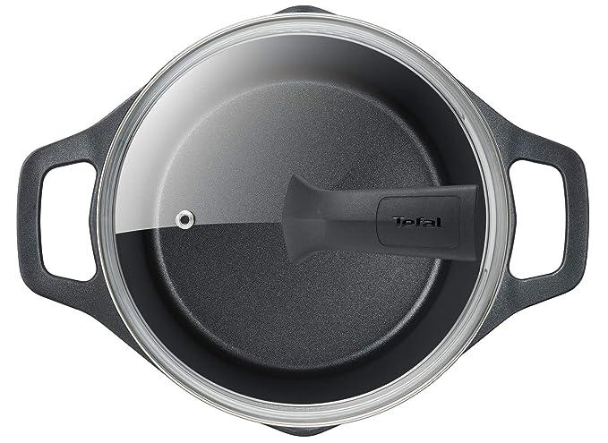 Tefal Aroma - Olla de 22 cm aluminio fundido y tapa, antiadherente revestimiento de titanio, con picos vertedores, apta para todo tipo de fuegos ...