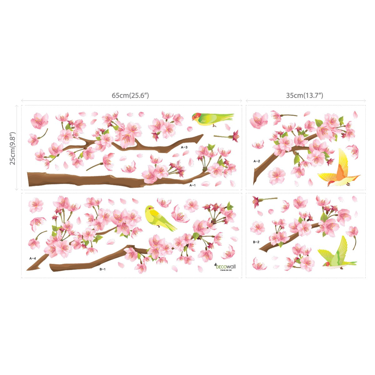 Decowall DW-1303 Cherry Blossoms and Birds Kids Wall Decals