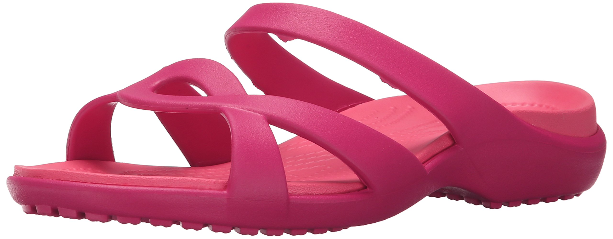 Crocs Women's Meleen Twist Wedge Sandal, Raspberry/Coral, 9 M US