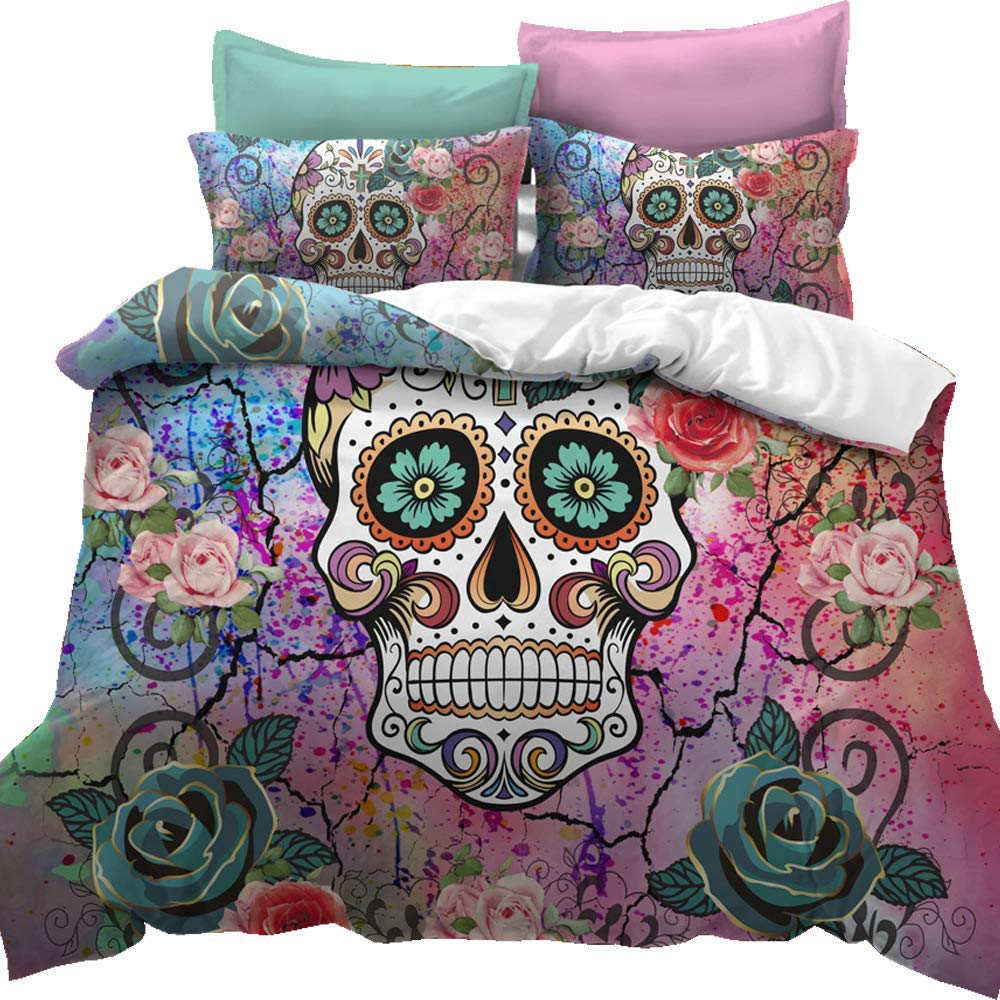 Feelyou Sugar Skull Duvet Cover Set Full Size Skull Pattern Bedding Set Bones Roses Floral Print Gorgeous Decorative Micorfiber Polyester Comforter Cover Set Watercolor with 2 Pillow Shams, 3Pcs