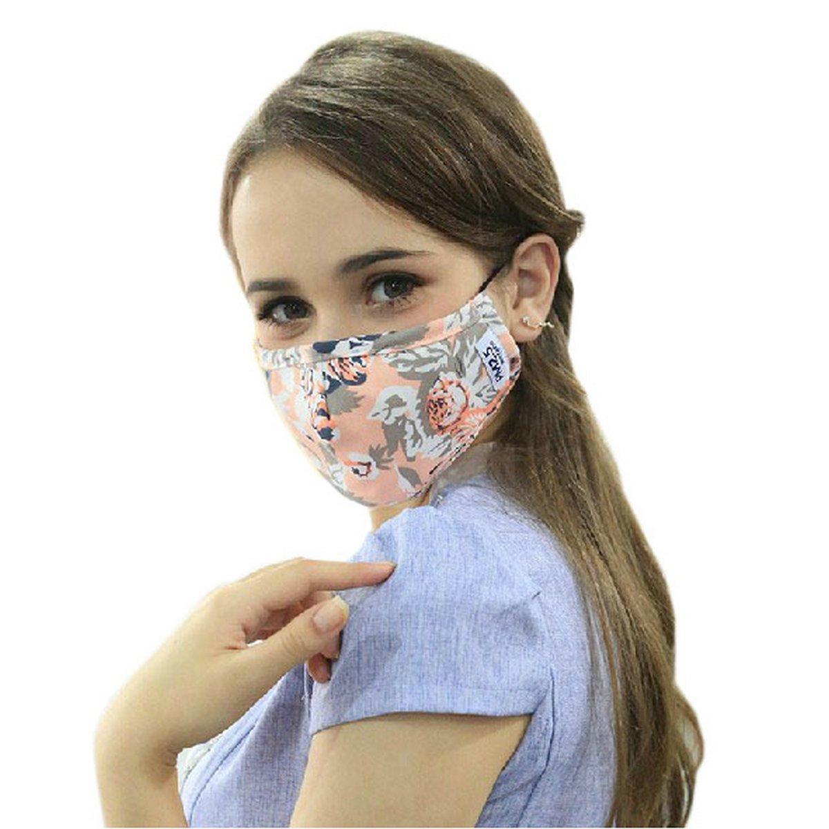 Ayygift Pm2.5 Flower Gauze Mask Adult Face Mask Anti-fog Haze Dustproof Mask (Pink)