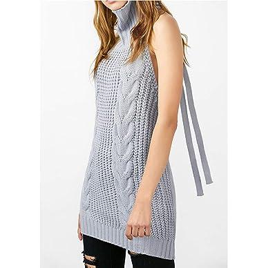 920f0c327d0 Sexy tie Open Back Long Virgin Killer Sweater Turtleneck Sleeveless lace  Women Sweater Vest