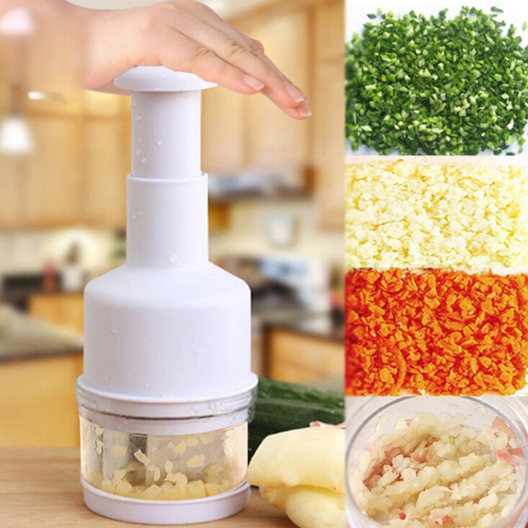 IGEMY Vegetable Garlic Onion Pressing Chopper Dicer Peeler Cutter Kitchen Tool (White)