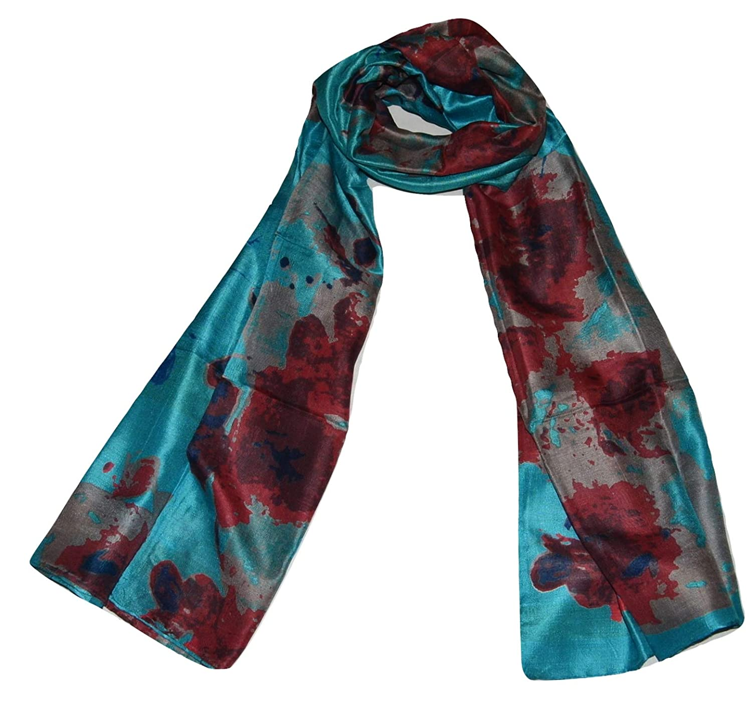 Turquoise Handcrafted 100% Pure Mulberry Silk, Floral Print, Scarf Stole.