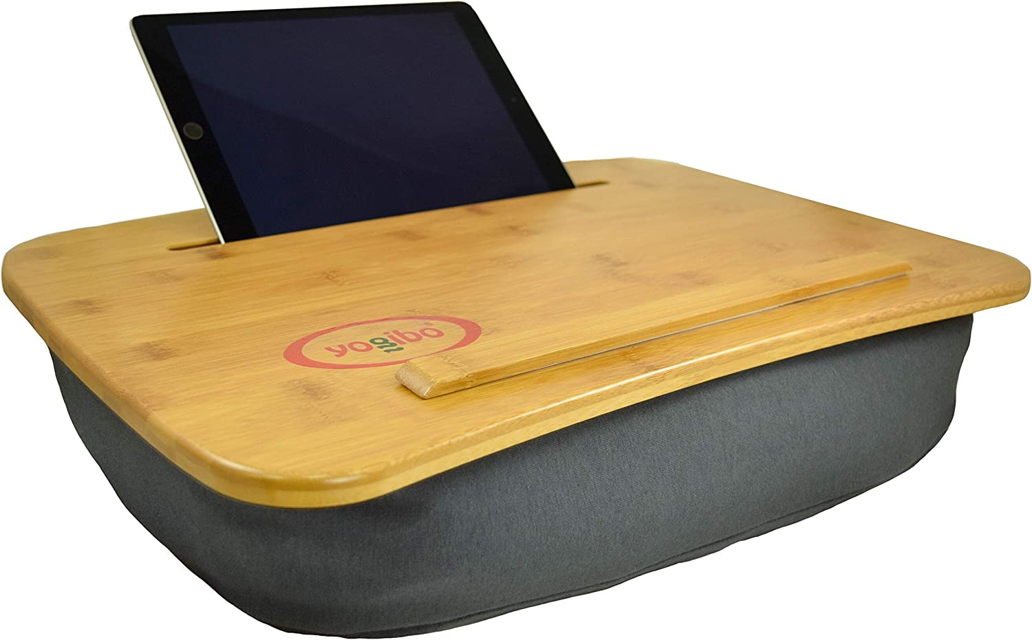 Yogibo Traybo 2.0 Lap Desk, Bamboo Top Lap Desk With Pillow for Laptop Built in Slot for Tablet or Phone, Lap Pad for Working, Reading, Writing, Lap Board, Dark Gray