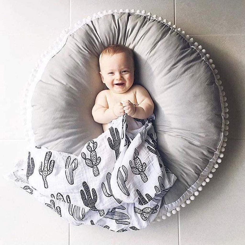 Crawling Play Gym Cotton Wool Ball Fabric Anti-Slip Mat Playmat Activity Gym Floor Plush Mat for Toddler Kids 90cm Soft Sleeping Mat MyCozy Baby Thickened Blanket Cotton Coffee