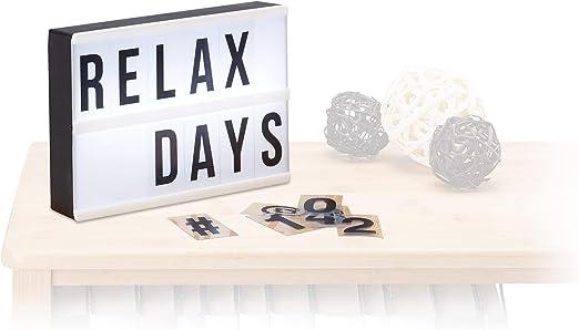 Relaxdays Caja de luz led con 60 letras, símbolos y cifras, Blanco y negro, 15 x 21 x 4 cm: Amazon.es: Iluminación