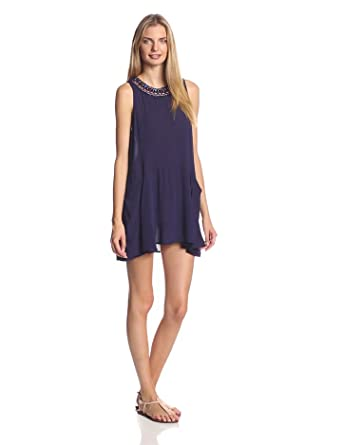 eight sixty Women's Gauze Solid Dress with Beaded Neckline, Royal Blue, Small