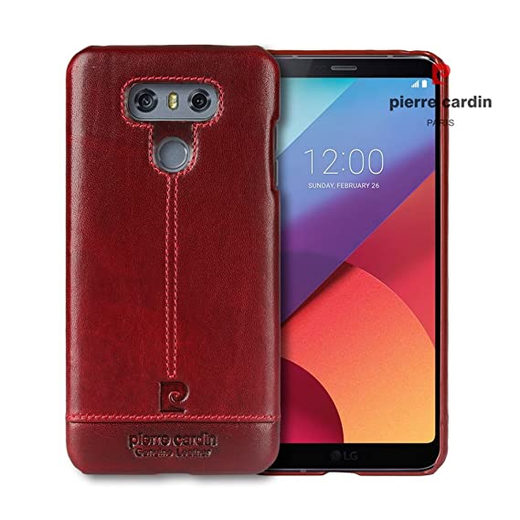 quality design c8a34 1de35 Pierre Cardin Genuine Leather Cover Protective Case Cover LG G6 Case (Red)