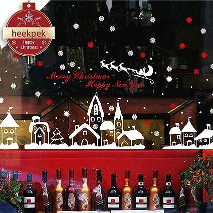 Hogar y cocina heekpek Pegatinas Decorativas Pared Pegatina Copo de Nieve Calcomanías de Ventana Decoración de Feliz Navidad en Engomada Pared Etiqueta Puerta para Tiendas y Hogar