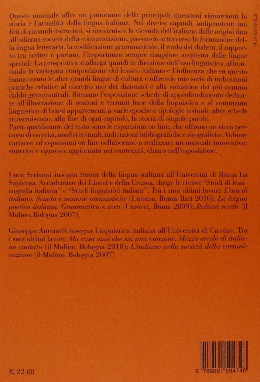 amazon it manuale di linguistica italiana storia attualit rh amazon it serianni antonelli manuale di linguistica italiana 2017 serianni antonelli manuale di linguistica italiana 2017