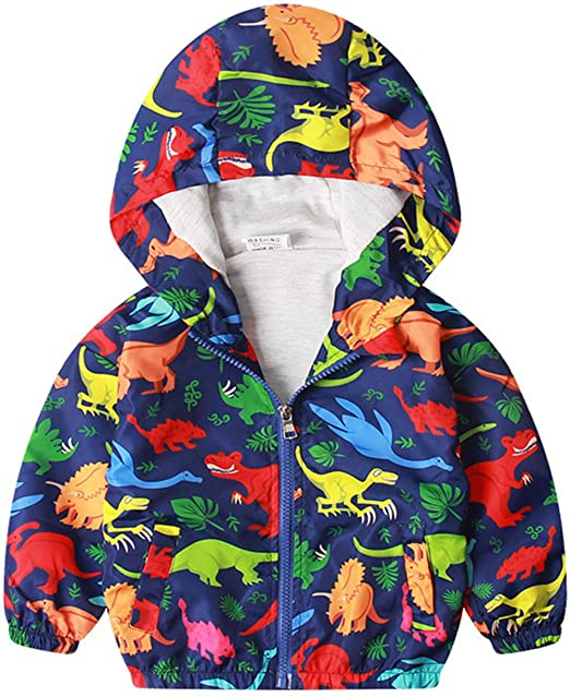 good selling discount sale meet Boys Cartoon Dinosaur Jackets Zip Kids Mesh Lined Hooded Windproof Coat for  Toddler Light Outwear