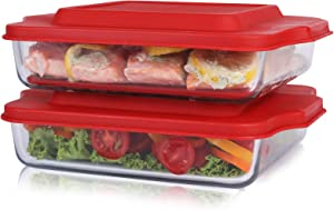 """Bovado USA 8"""" x 8"""" Square Dish for Storage, Mixing, Serving - Dishwasher, Freezer & Oven Safe Glass, Easy-Clean, Clear with Lid, Pack of 2"""