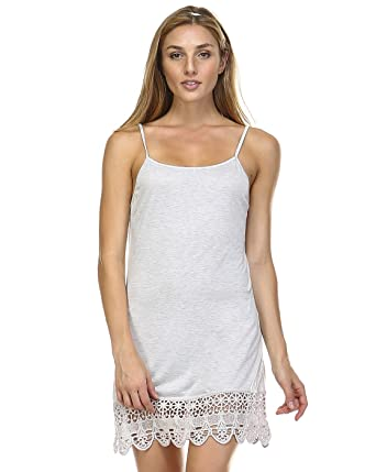 f6108aec75a1e Women's Cami With Crocheted Hemline (Small, Vintage White) at Amazon ...