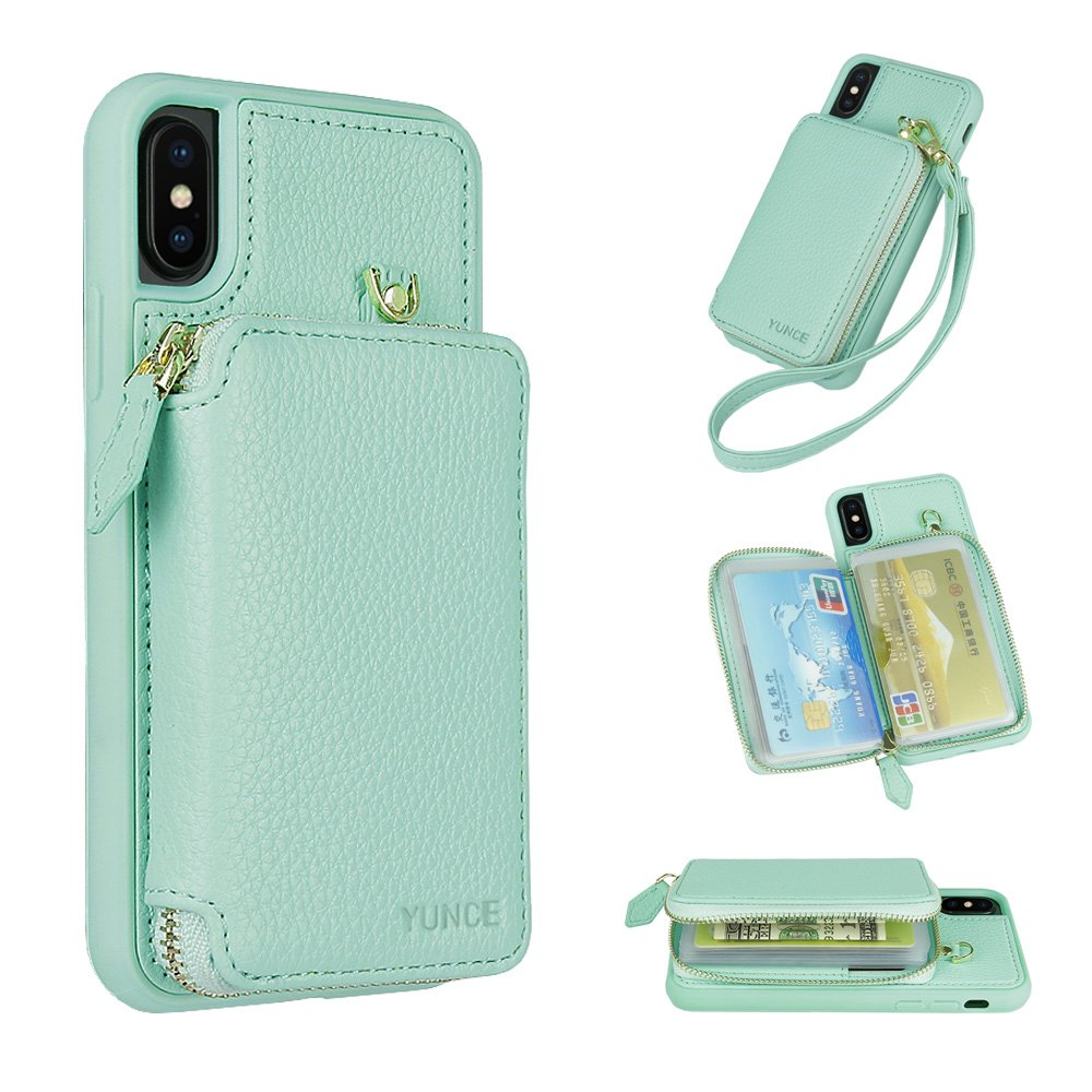 YUNCE iPhone X Wallet Case, Leather Wallet Case Credit Card Holder Slot Protective Leather Zipper Wallet Case With Card Holder Handbag Cover for iPhone X (Mint)