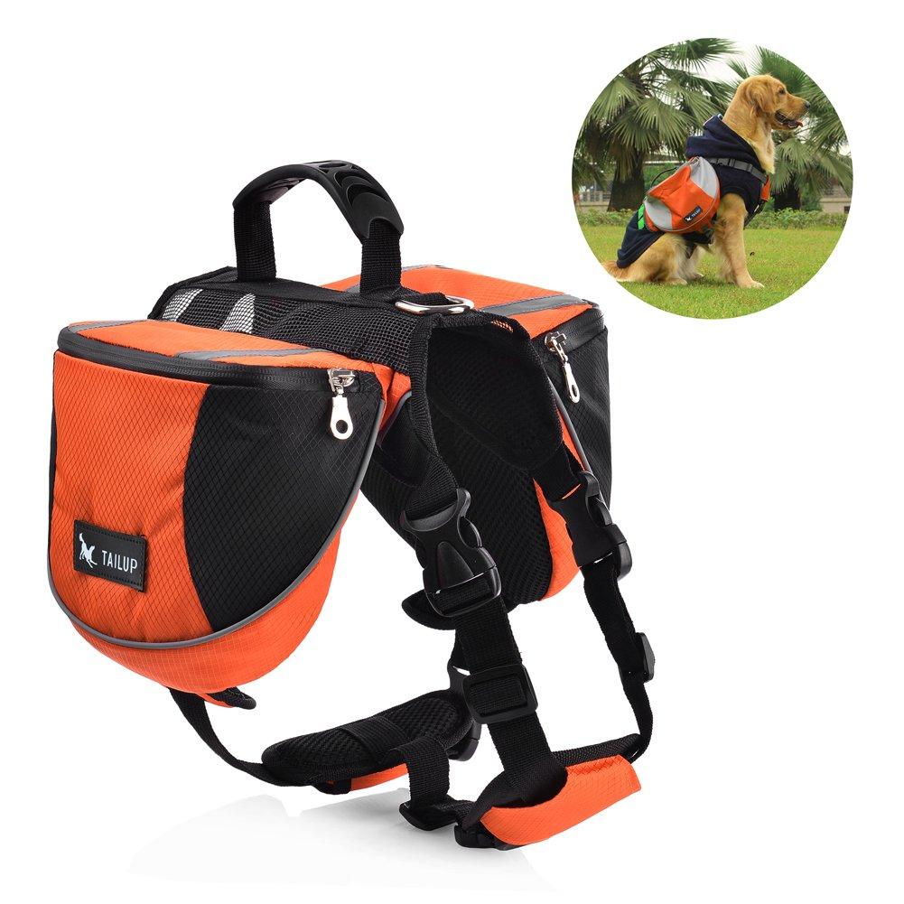 Petacc Dog Backpack Adjustable Dogs Harness Dog Accessory Pack Pets Saddlebag for Medium and Large Dogs (Orange)