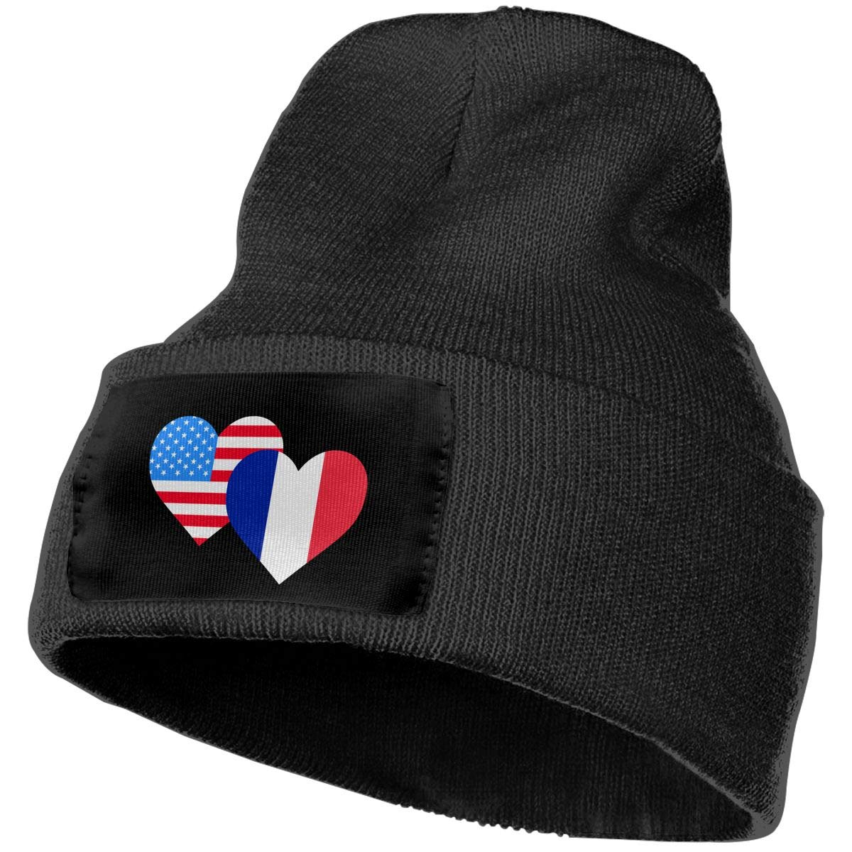 COLLJL-8 Unisex American France Heart Flag-1 Outdoor Stretch Knit Beanies Hat Soft Winter Knit Caps