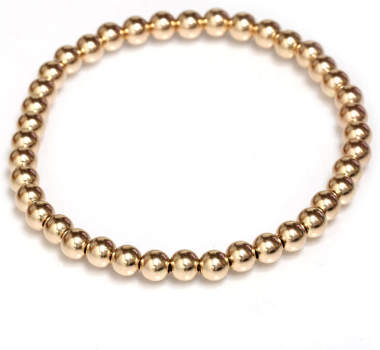 Gold Bead Bracelet 4mm with Heart Bead Black Heart Gold Ball Bracelet Stretch Fit Bracelet 14K Gold Plated Bracelet Gold Ball Bracelet