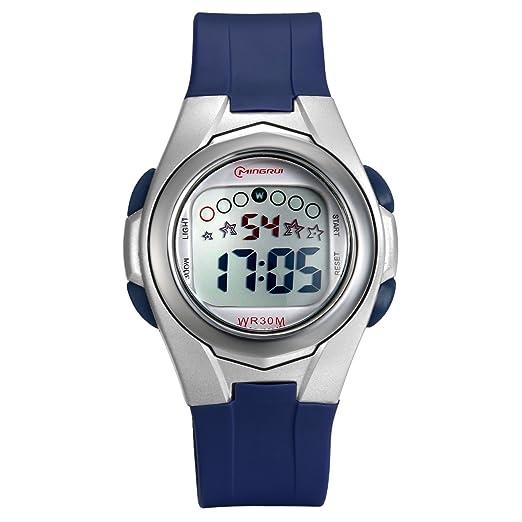 Lancardo Reloj Deportivo Digital Impermeable de 30m Multifunciones con Luces Pulsera Electrónica Correa de PVC Plástico