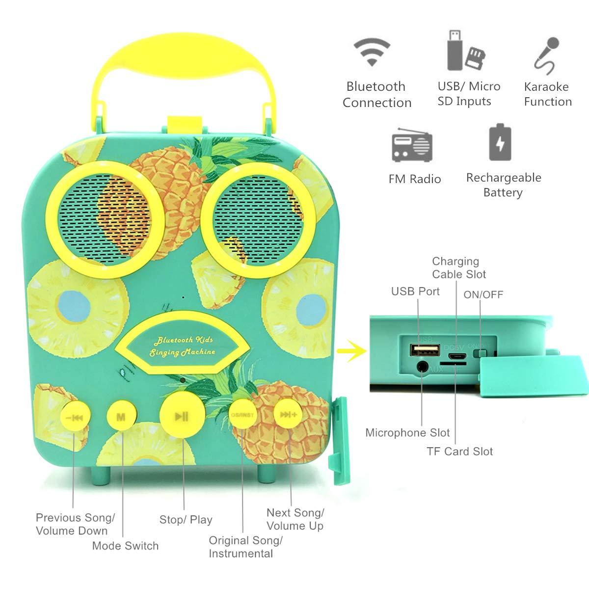 Kids Karaoke Machine with Microphone, Bluetooth Rechargeable Kids Handbag Karaoke Music Player Toy Children MP3 Player Loudspeaker with Microphone (Handbag Green) by Kidsonor (Image #2)