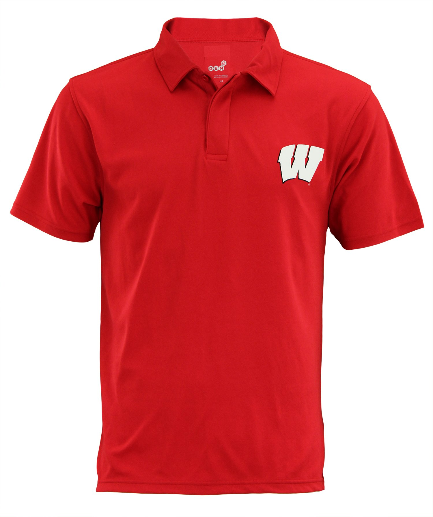 Outerstuff Wisconsin Badgers NCAA Mens Short Sleeve Performance Polo, Red Small