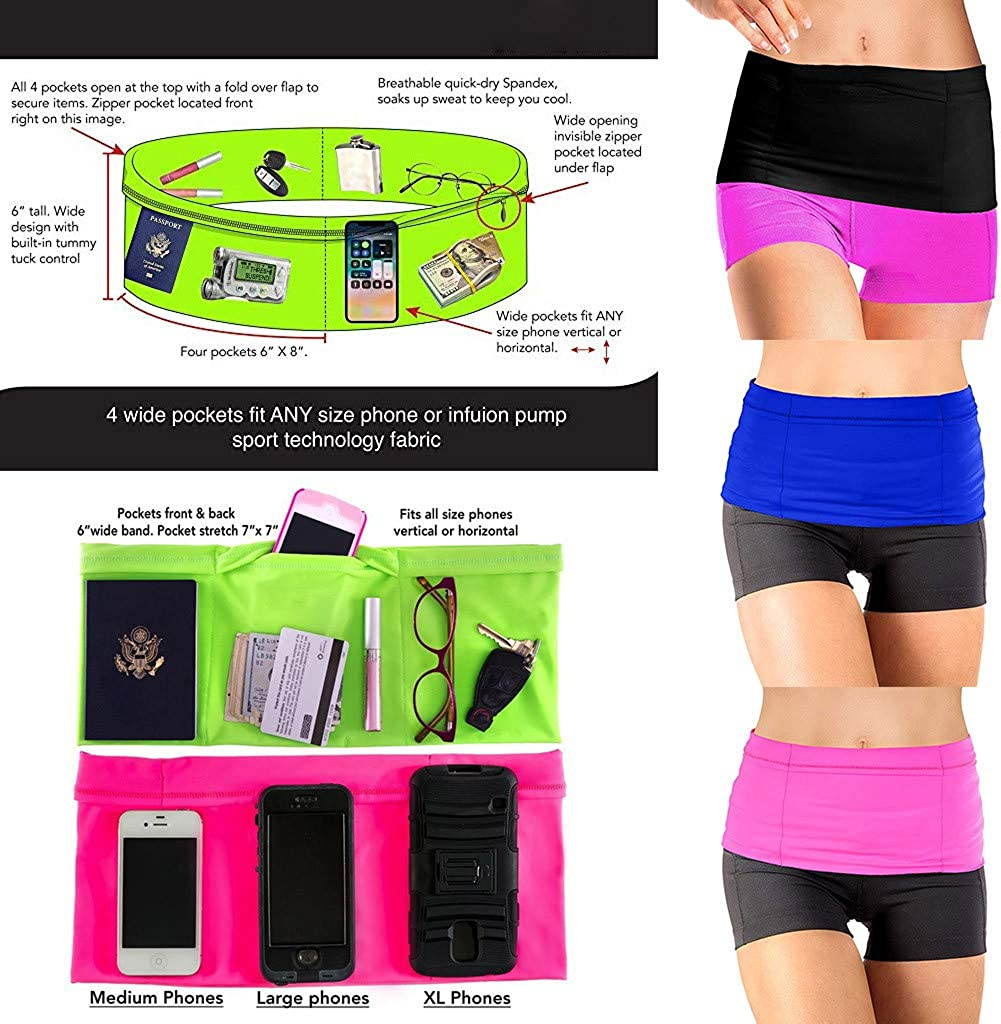 Gym Jogging Binggong Running Belt Sports Travel Money Belt with 4 Pockets Fits Phones Mobile Phone Waist Bag Waist Organiser Suitable for Travel