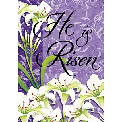 593c5bafa8116 Easter Lilies - He Is Risen - Standard Size, Decorative Double Sided,  Licensed and Copyrighted Flag -Printed IN USA by Custom Decor Inc. 28 Inch  X 40 ...