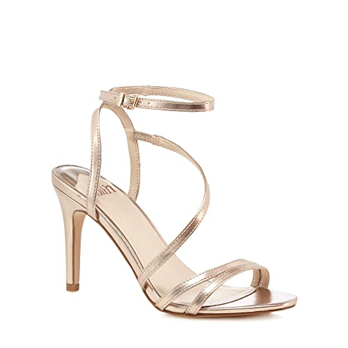 f87b650bc98 Faith Womens Rose Gold  Delly  High Stiletto Heel Ankle Strap Sandals 3
