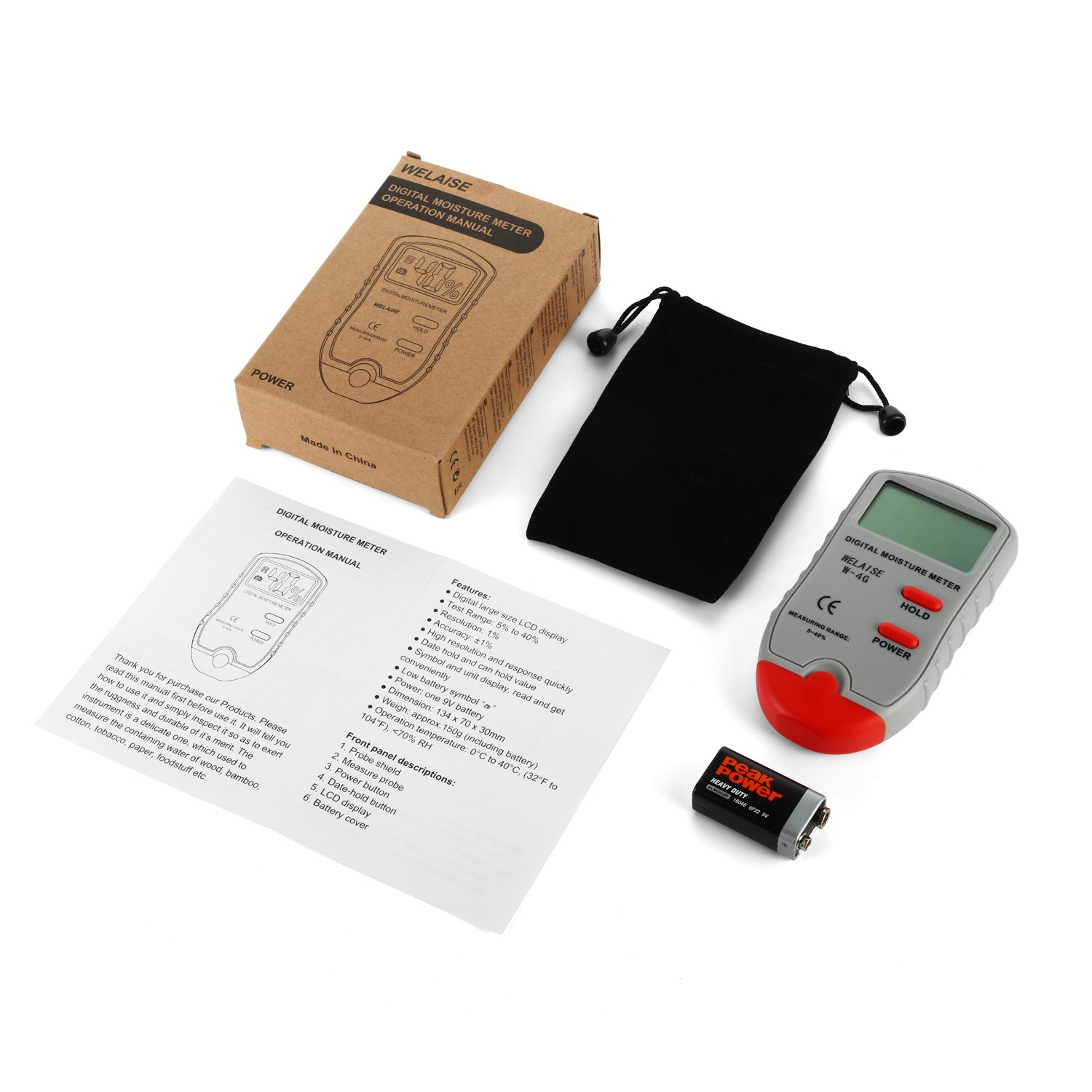 Accuracy: +//-1/% Digital Moisture Meter WELAISE Wood Water Moisture Tester with HD Digital LCD Display,4 Spare Sensor Pins for Different Materials Range 5/% 40/%