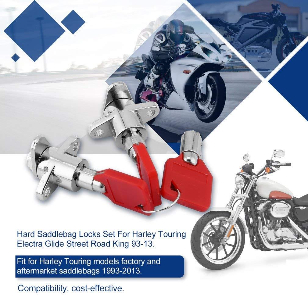 leoboone Neue Motorr/äder Red Festsatteltaschen Schl/össer mit Schl/üssel-Satz f/ür Harley Touring Electra Glide Stra/ße Road King 93-13
