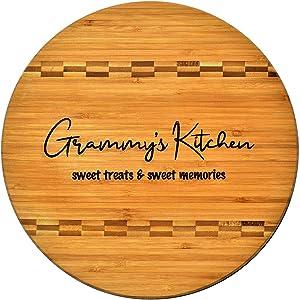 Grammy Gift - Bamboo Butcher Block Inlay Engraved Cutting Board - Grammy's Kitchen Sweet Treats & Sweet Memories - Design Decor Birthday Mothers Day Christmas Best Grandma Ever GK Grand (11.75 Round)